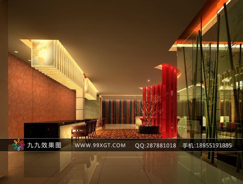 1345-酒店餐饮大堂效果图