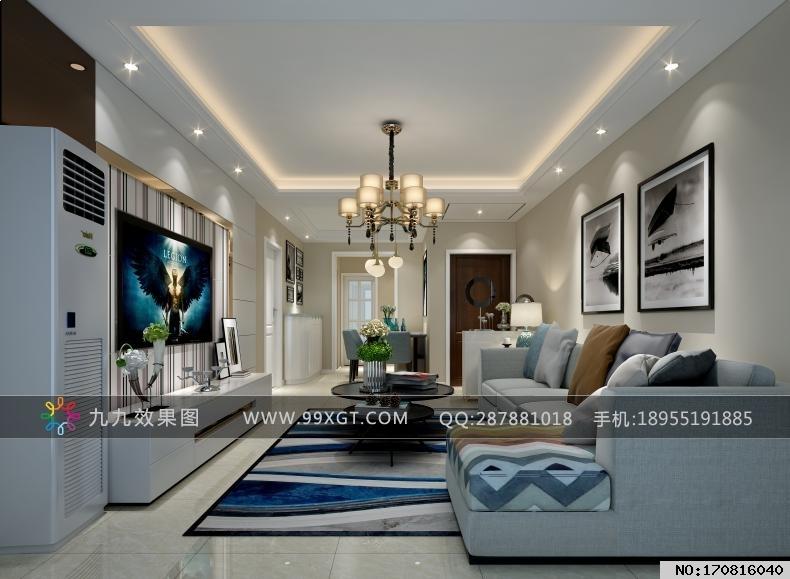 现代简约平层客厅